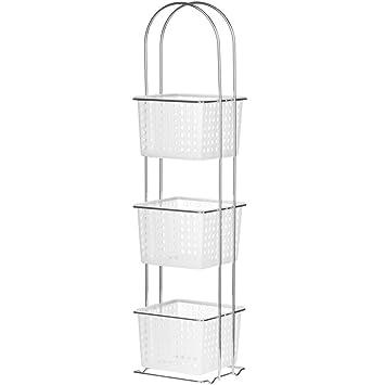Premier Housewares 3 Tier Bathroom Storage Unit, White Plastic ...
