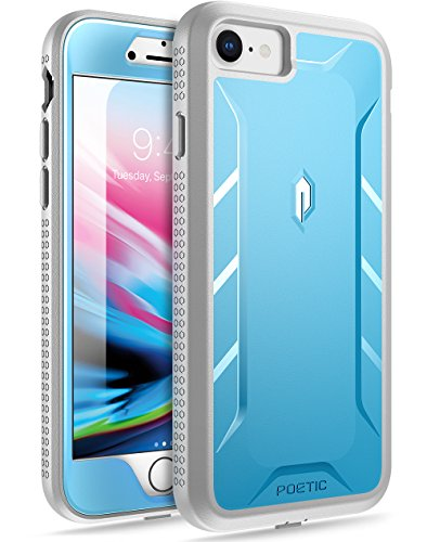 Poetic iPhone 7 / iPhone 8 Case, Revolution [360 Degree Protection] Full-Body Rugged Heavy Duty Case with [Built-in-Screen Protector] for Apple iPhone 7 (2016) / iPhone 8 (2017) Blue/Gray