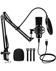 InnoGear USB Condenser Microphone Kit, 192KHZ/24BIT Professional Cardioid Mic with 2.8 Meter USB Cable Boom Arm Stand Shock Mount Pop Filter Windscreen for Mac Windows Vista, 7, 8.1, or 10 System