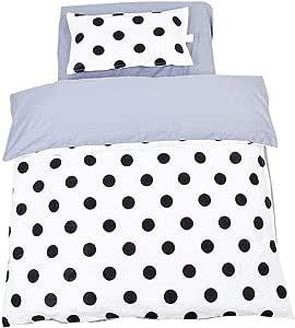 Juego de ropa de cama de 3 piezas de unicornio para cuna o cuna de estilo Instagram, sábanas 100% algodón orgánico, 100% poliéster reversible, edredón y cojín con forma Wave point: Amazon.es: Bebé