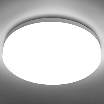 Le Flush Mount Ceiling Light Fixture Waterproof Led Ceiling Light For Bathroom Porch 5000k Daylight 15w 100w Equivalent 1250lm Ceiling Lamp For Kitchen Bedroom Living Room Hallway Non Dimmable Amazon Com