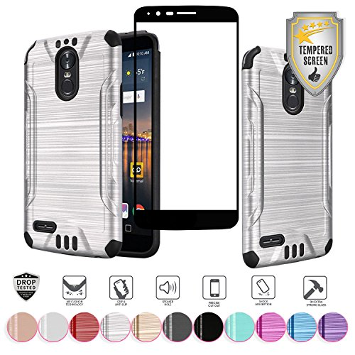 for LG Stylo 3 Stylo 3 Plus 2017 Metallic Brushed Shock Proof Slim Hybrid Cover Case with Full Edged Tempered Glass Screen Protector (Silver)