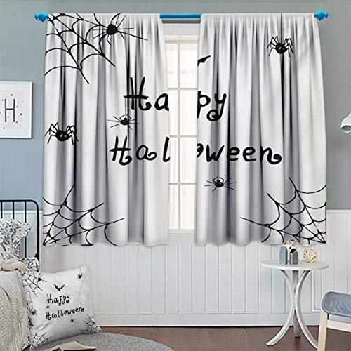 Anhounine Spider Web,Blackout Curtain,Happy Halloween Celebration Monochrome Hand Drawn Style Creepy Doodle Artwork,Customized Curtains,Black White,W52 x L63 -