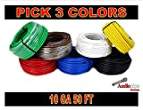 10 GA GAUGE 50 FT ROLLS PRIMARY AUTO REMOTE POWER GROUND WIRE CABLE (3 COLORS)