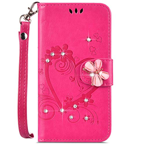 - IKASEFU Compatible with iphone 7 Plus/8 Plus Case,Shiny butterfly Rhinestone Emboss Love Pu Leather Diamond Bling Wallet Strap Case with Card Holder Magnetic Flip Cover For iphone 7 Plus/8 Plus,rosy