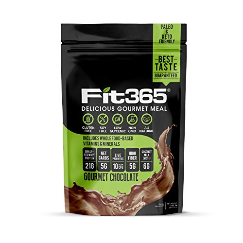 Fit 365 Gourmet Shake, Gourmet Chocolate, Natural Undenatured 100% Grass Fed Protein, Low Carb, Keto Paleo Friendly, Low Glycemic, Organic MCTs, NO: GMO, Artificial Sugar, Soy, or Preservatives, 399 g
