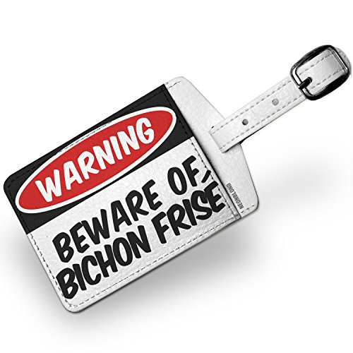 Luggage Tag Beware of the Bichon Frisé Dog from Spain, Belgium - NEONBLOND (Bichon Frise Luggage Tag Leather)