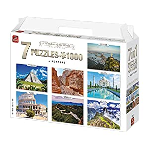 King International 55877 Set Di Puzzle 7 In 1 X 1000 Pezzi Motivo Sette Meraviglie Del Mondo Poster Multicolore