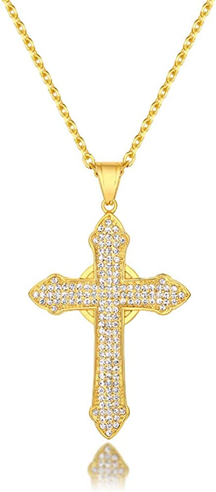 QTMY 18K Gold Plated Stainless Steel Diamond Cross Pendant Necklace for Men Women,Hip Hop Punk Rapper Jewelry