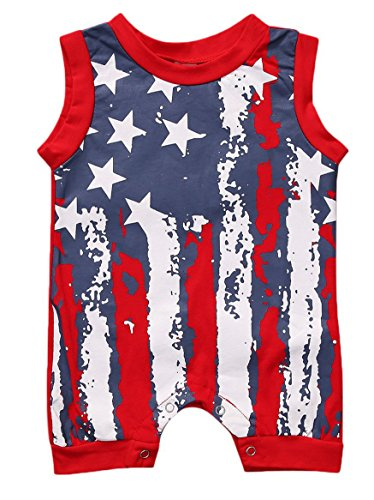 Younger star Newborn Infant Baby Girl Boy Summer Outfit Sleeveless American Flag Print Romper 4th of July Independence Day (Red, 0-6 Months)