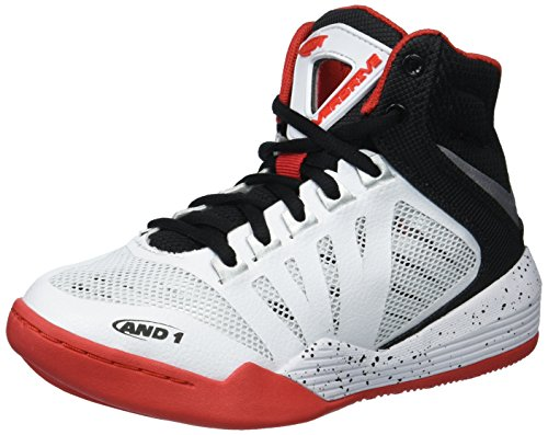AND1 Boys' Overdrive Sneaker, White/Black/Fiery Red, 7 M US Big ()