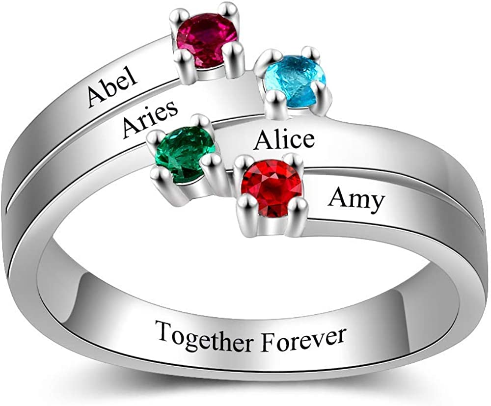 Personalized /& Custom Made Mothers Ring Engraved Simulated Birthstone Ring 6 Stone Ring 925 Sterling Silver
