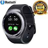 Meya Happy Y1 Unisex Bluetooth 4g Smart Watch For Men / Boys / Girls / Women | Facebook / Whatsapp Messaging / 4g Sim Card Support / Touch Screen / Compatible with All Samsung, Xiaomi, Lenovo, Oppo Android / iOS Apple iPhone Mobile Phones - Black Color