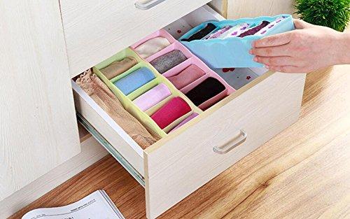Hosaire Storage Box Multi-function Five Grid Plastic Underwear Sock Ties Separator Organizer Case Desk Drawer Closet Organizer ,Set of 3 Color by Hosaire (Image #4)