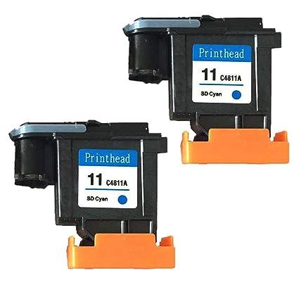 ouguan® 2 x Cyan Compatible Cabezal de impresión HP 11 C4811 A ...