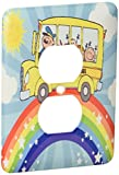 3dRose lsp_128851_6 School Bus Rainbow Art Cute Bus Riding Atop A Rainbow In The Sunshine 2 Plug Outlet Cover