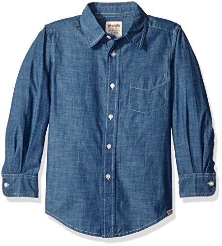 Chambray Plaid Shirt (Wrangler Boys' Big Boys' Authentics Long Sleeve Woven Shirt, Navy Chambray, Large)