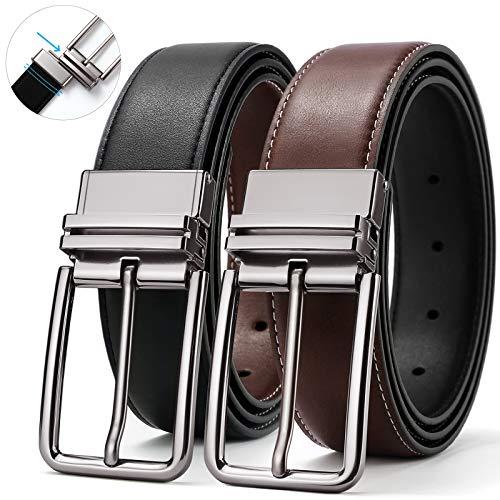 (Mens Belt,Belt Men Leather Reversible Designer Belts for Men Dress Casual Jeans Rotating Belt 40 SOPONDER)