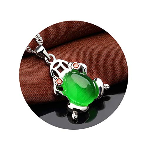 KnSam Pendant Necklaces Women Silver Frog Green Necklace Chain Pearl Necklace for Girls
