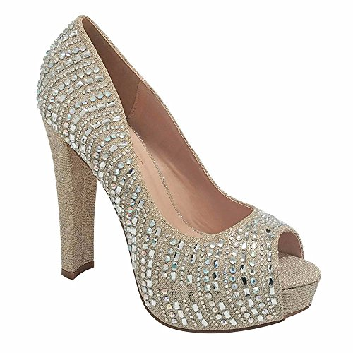 Womens Sparkle Rhinestone Shimmer Party Shoe With Chunky Heel (8.5, Nude)