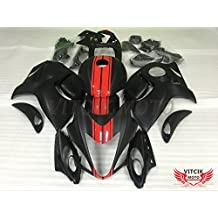 VITCIK (Fairing Kits Fit for Suzuki GSXR1300 GSX-R 1300 GSXR 1300 Hayabusa 2008 - 2015) Plastic ABS Injection Mold Complete Motorcycle Body Aftermarket Bodywork Frame (Black & Red) A049