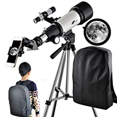 Telescope 70mm Aperture 400mm AZ Mount Refracting Telescope Adjustable Portable Travel Telescopes for Astronomy with Backpack, Phone Adapter for Any Model.The vast universe and the beautiful starry sky expect more people to know it and discov...
