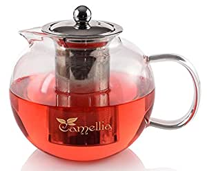 Camellia Teapot with Stainless Steel Infuser, Borosilicate Glass, Modern Design Tea Pot - Holds 5 Cups, 40 Ounce.