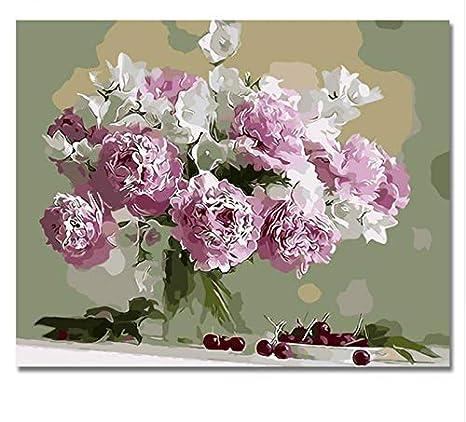 Yzrh Quadri di fiori rosa Dipinti per numero Fai da te Dipinto a ...