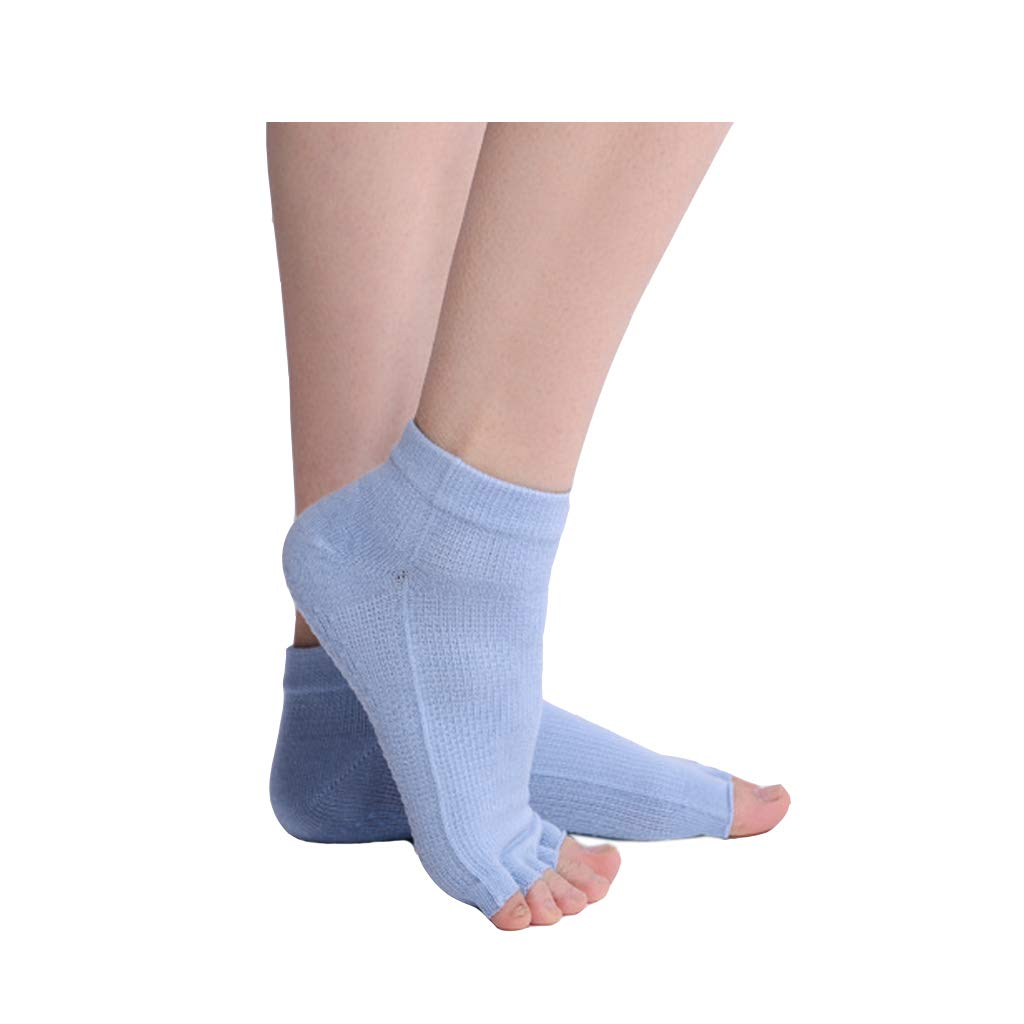 ZHAO YING Open Toe - Five Fingers - Yoga Socks - Soft - Breathable - Silicone Non-Slip - Socks (Color : Light Blue)