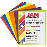JAM Paper Laminated Two Pocket Glossy 3 Hole Punch Folders - Assorted Primary Colors - 6/pack