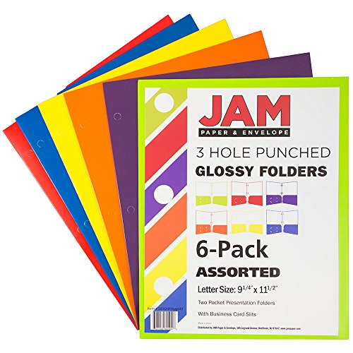 JAM Paper Laminated Two Pocket Glossy 3 Hole Punch Folders - Assorted Primary Colors - 6/pack by JAM Paper