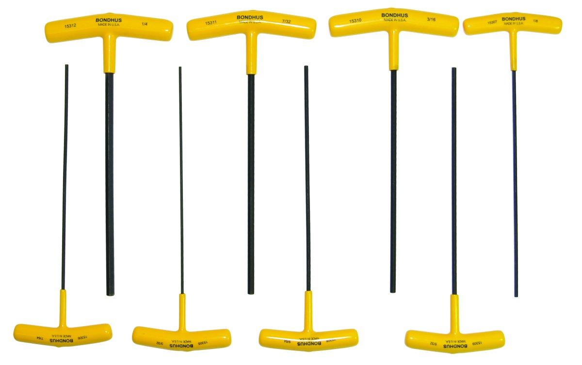 sizes 3//32-1//4-Inch 9-Inch Length Bondhus 15332 Set of 8 Hex T-handles