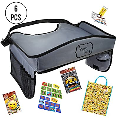 #1 New Kids Travel Kit with Road Trip Activities/Kids Toddler Travel Tray with Tablet Holder/Travel Busy Bag Travel Games for Car Seat Airplane Stroller Activities