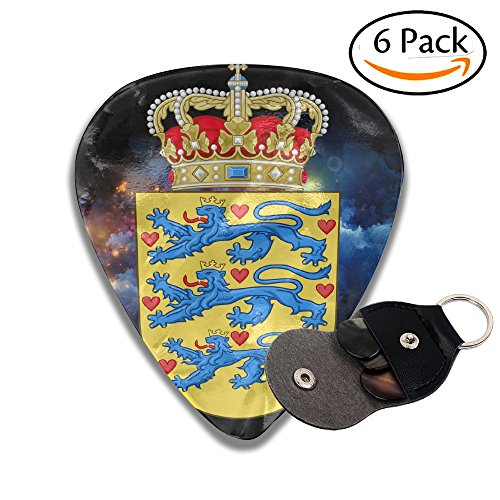 - National Coat Of Arms Of Denmark 351 Shape Classic Celluloid Guitar Picks For Guitar Bass - 6 Pack .71mm