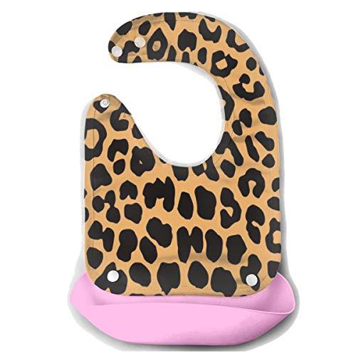 ROCKSKY Silicone Bib Drooling Bibs Water Ressistant Baby Bandana Bibs, Cool Animal Leopard Print Food Catcher Pocket Bib Baby Bibs for Girls Boys 10-72 Months Baby Feeding Accessorry]()