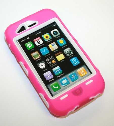 Super Case for 3g, 3gs iPhone, Hot Pink/White -