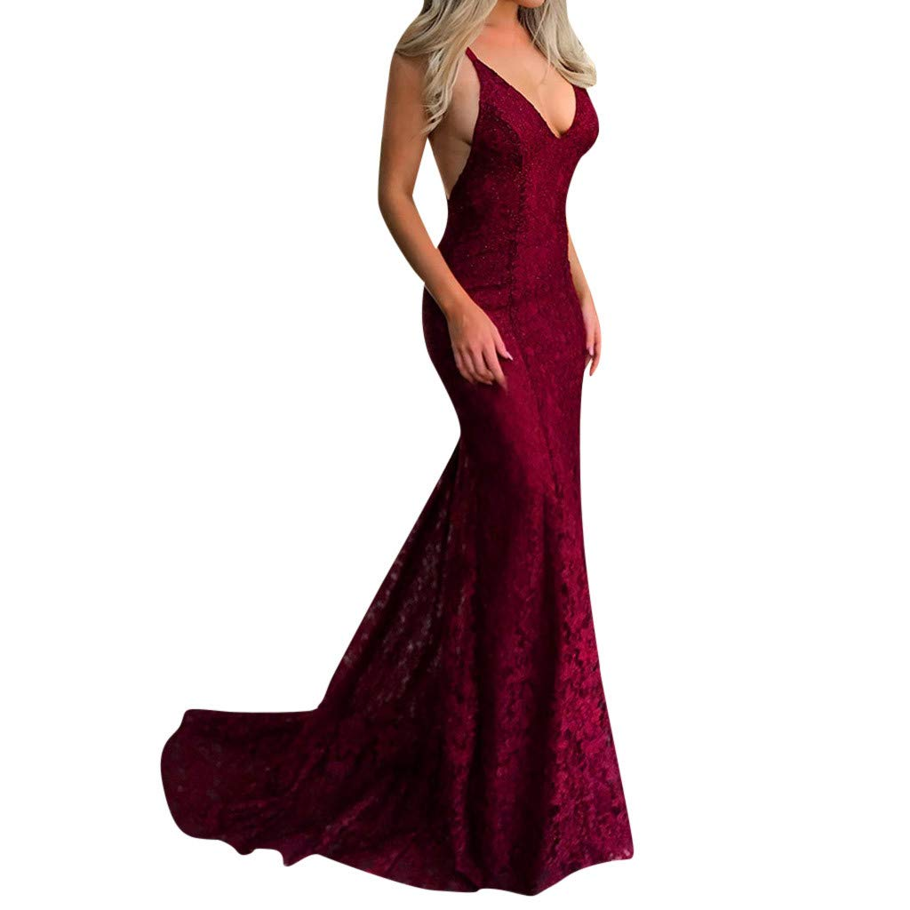 TANLANG Dresses for Women Party Night Sexy Lace Sling V-Neck Sleeveless Dress Backless Dress Bodycon Party Maxi Dress Red