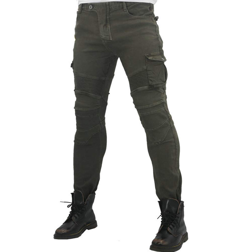 XL=34, Army Green Motorcycle Riding Jeans With 4 X Knee Hip Armor Pads Cycling Racing Protective Pants