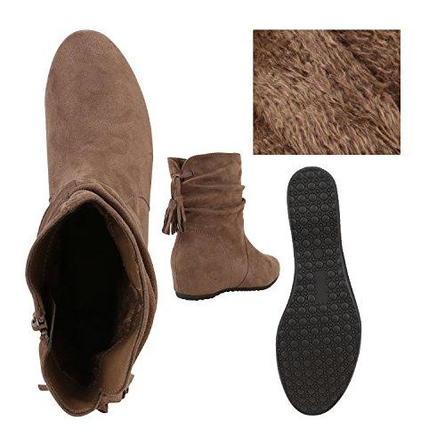 Stiefelparadies Damen Klassische Stiefel Schlupfstiefel Leder-Optik Bequeme Stiefeletten Boots Leicht Gefütterte Schuhe Flandell Khaki Carlet