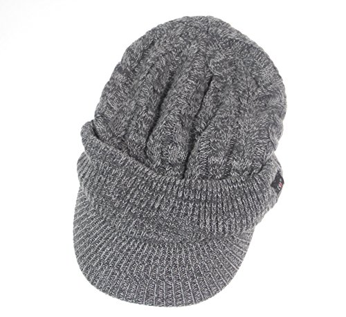 6f90e6e0a7e2f0 Connectyle Women 's Warm Bill Winter Hats Slouchy Cable Knitted Beanie Cap  with Visor Newsboy Cap Grey, 55 60cm - Buy Online in Oman.