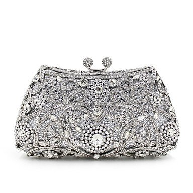 party Evening Wedding Event Bag clutches women Key Sunny Khaki Metal Silver Formal STYRR8