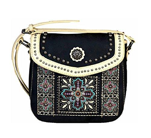 Purse Black Concealed Aztec Montana Hippy Messenger Bag Carry West Flower 8AqBHv