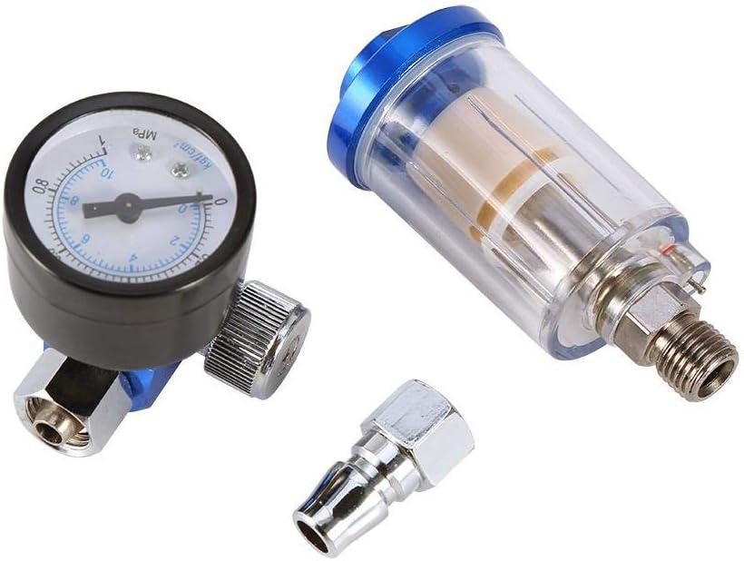 Regulador de presión de aire, calibrador de regulador de aire de pistola neumática con rosca de 1/4 '' + separador de filtro de trampa de agua y aceite en línea