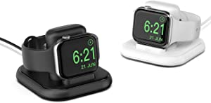 Conido Charging Stand for Apple Watch, Watch Charger Stand with Charging Cable, Magnetic Wireless Charging Station Compatible with Apple Watch Series 5/4/ 3/2/ 1/ 44mm/ 42mm/ 40mm/38mm- Black & White