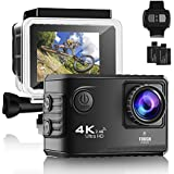 Emmabin Action Camera, WiFi 20MP 4K 2 Inch LCD Screen, Waterproof Sports Cam 170 Degree Wide Angle Lens, Sport Camera DV Camcorder With 2 Rechargeable Batteries and Accessories