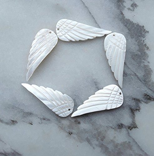 - 5 Pack Mother of Pearl Hand Carved Angel Wing Charms