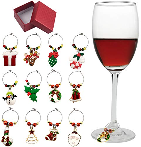12 Piece Holiday Themed Christmas Wine Glass Charms, Wine Tasting Party Decoration Supplies Gift Box Set (Golden)