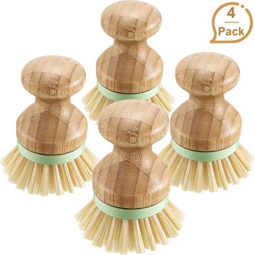 - 4 Pieces Bamboo Mini Scrub Brush Coconut Bristles Pot Brushes Dish Scrubber for Cast Iron Skillet, Kitchen Sink, Bathroom, Household Cleaning