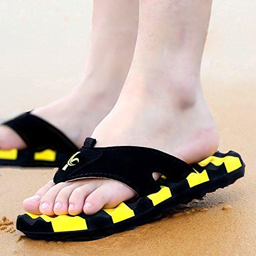 Xing Lin Sandalias De Hombre Nuevo Verano Flip Flop MenS Big Clip Pies Zapatillas De Playa Playa Zapatos Zapatilla De Avispa Sandalias Y Zapatillas yellow