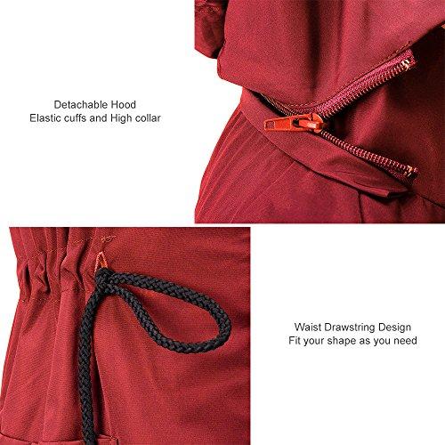 Cappuccio Rosso Impermeabili Outdoor Trench Antipioggia Donna Con Giacca Active Unbrand Da 0qA4f